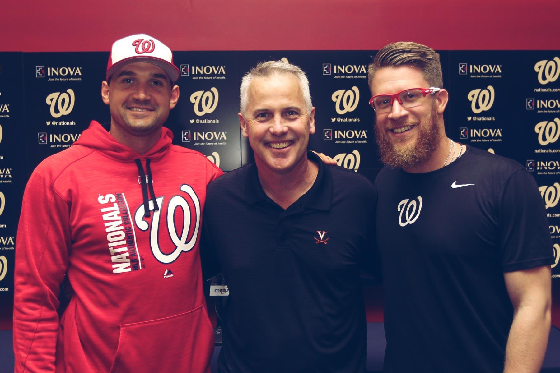 From left, Ryan Zimmerman, UVA baseball coach Brian O'Connor, and Sean Doolittle enjoyed a chance to get together briefly between Washington Nationals games.