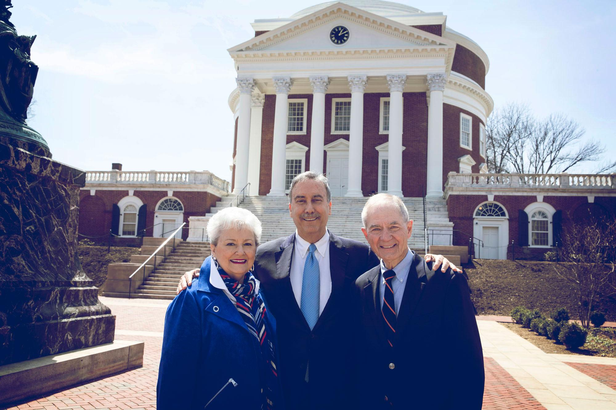 Larry Sabato, center, and Leonard and Jerry Sandridge share a commitment to opening UVA's doors to students of all backgrounds.