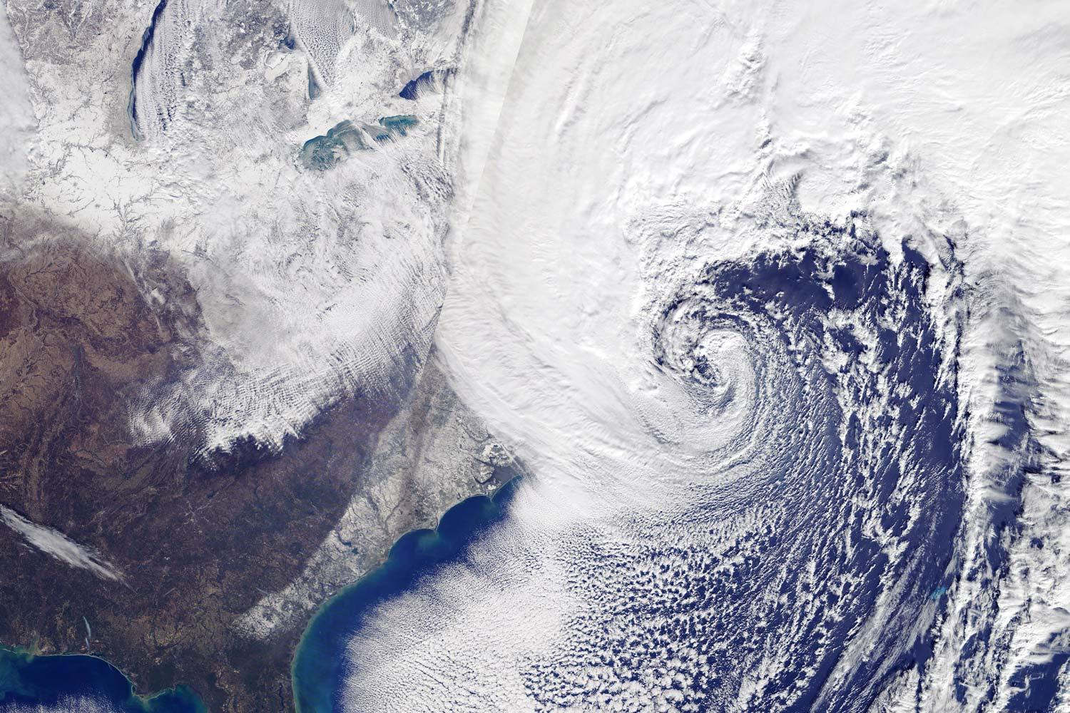 A fast-moving winter storm hit the eastern United States during the first week of 2018. Here's the view from a NASA Earth observing satellite.