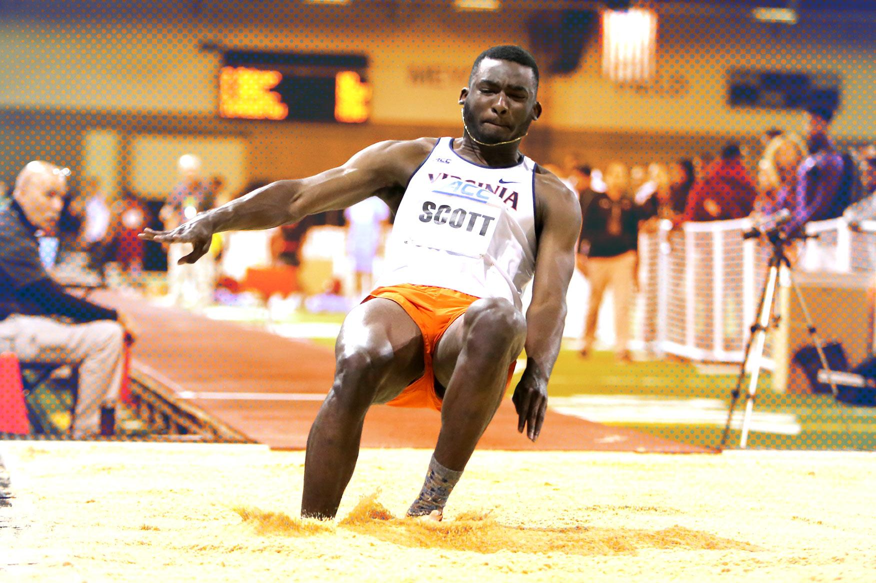 Jordan Scott has set UVA freshman records for the indoor and outdoor triple jump, in the latter event surpassing a mark that stood for 45 years.