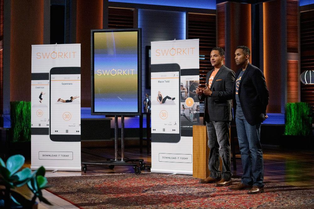 "Engineering School alumnus Ben Young, left, pitches his app, Sworkit, on ""Shark Tank"" with co-founder Gregory Coleman."