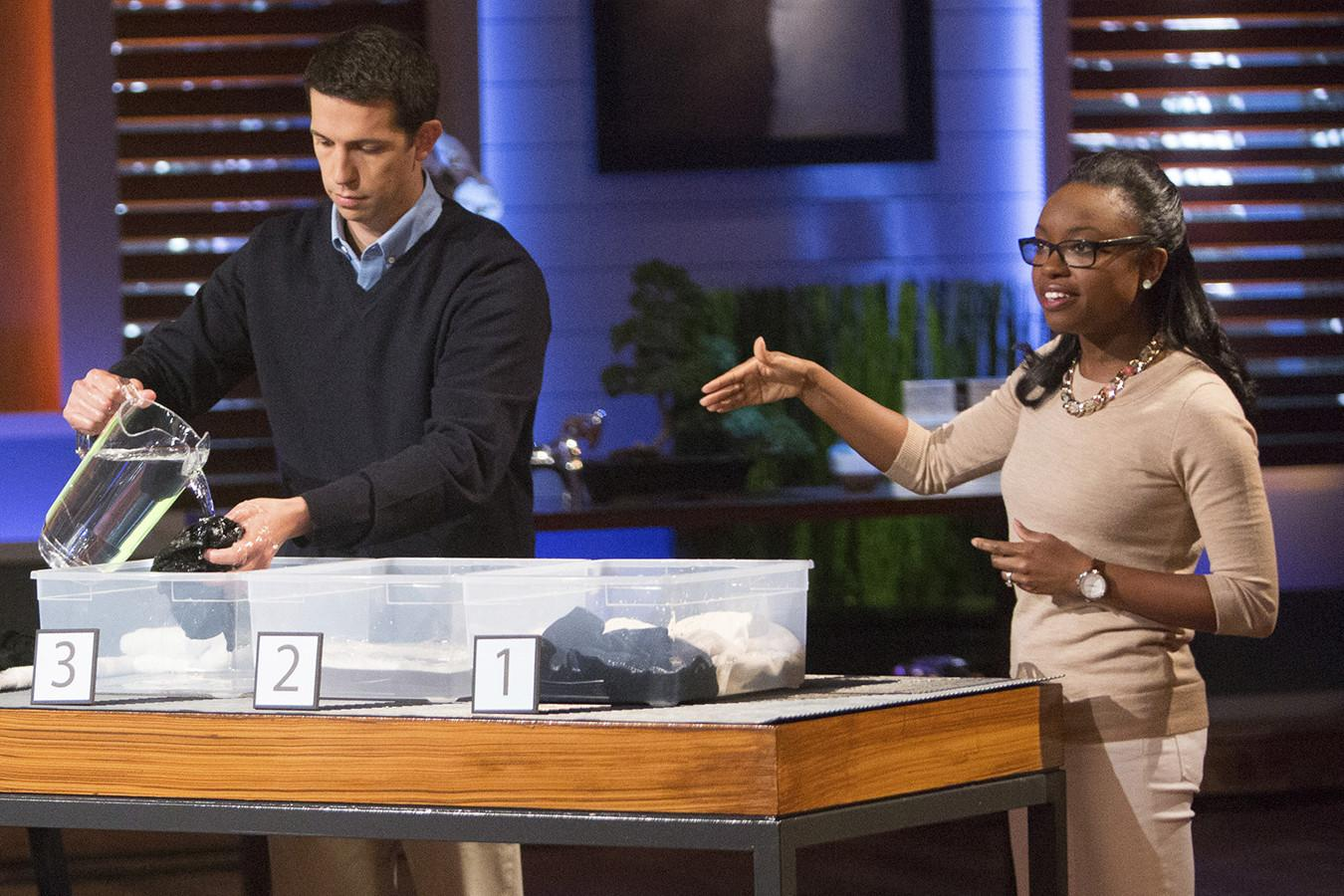 "UVA graduate Desirée Davis Stolar, right, describes her product, Unshrinkit, during a recent taping of ABC's ""Shark Tank."""