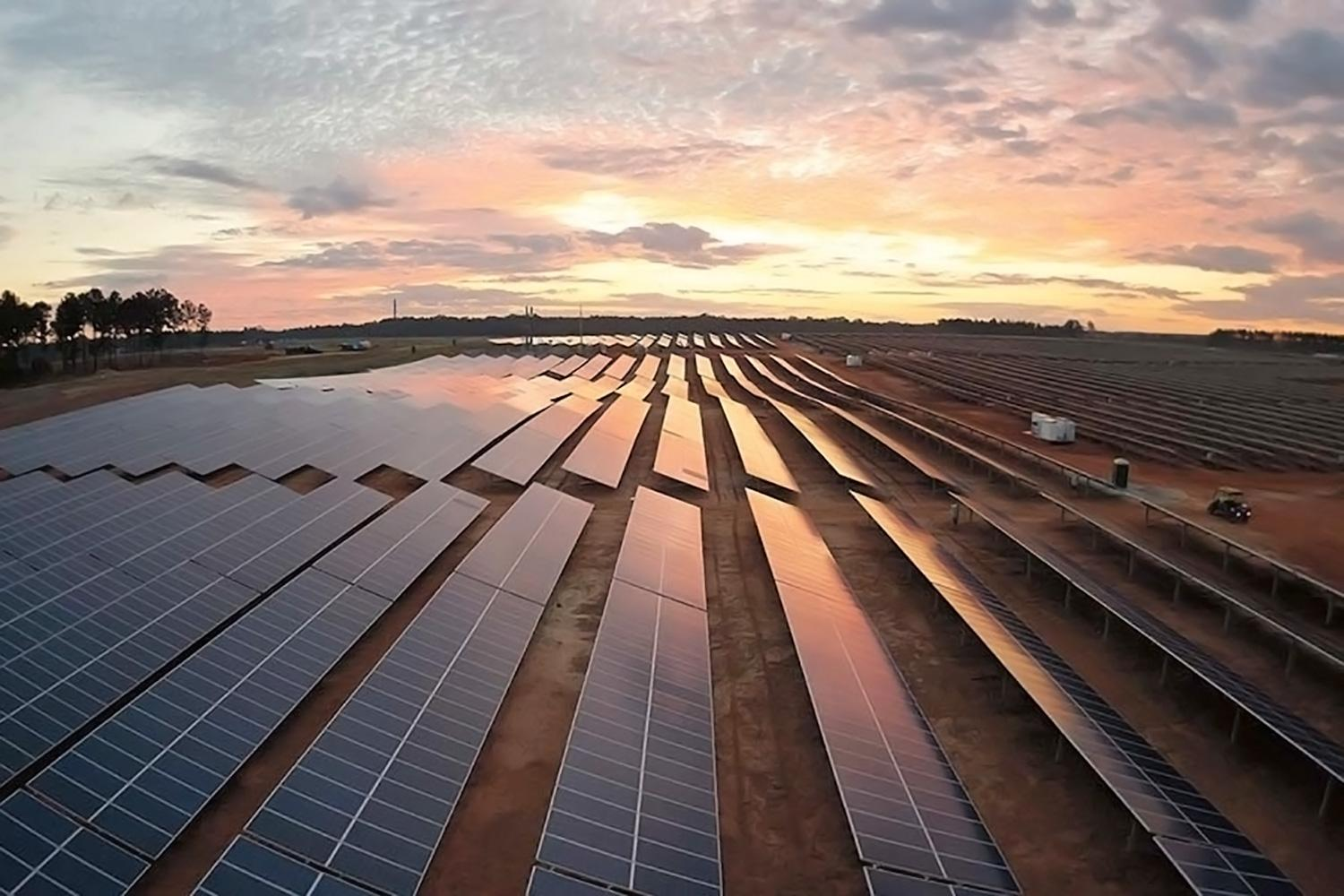 UVA and the Darden School will purchase all of the energy output from a solar farm in King William County, similar to this Dominion-owned farm on the Eastern Shore, for a 25-year period.