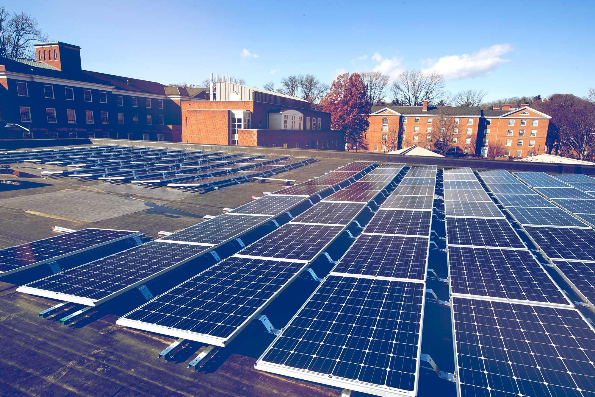 The University is using some of its roof space to generate solar power, part of its commitment to reduce its greenhouse gas footprint.