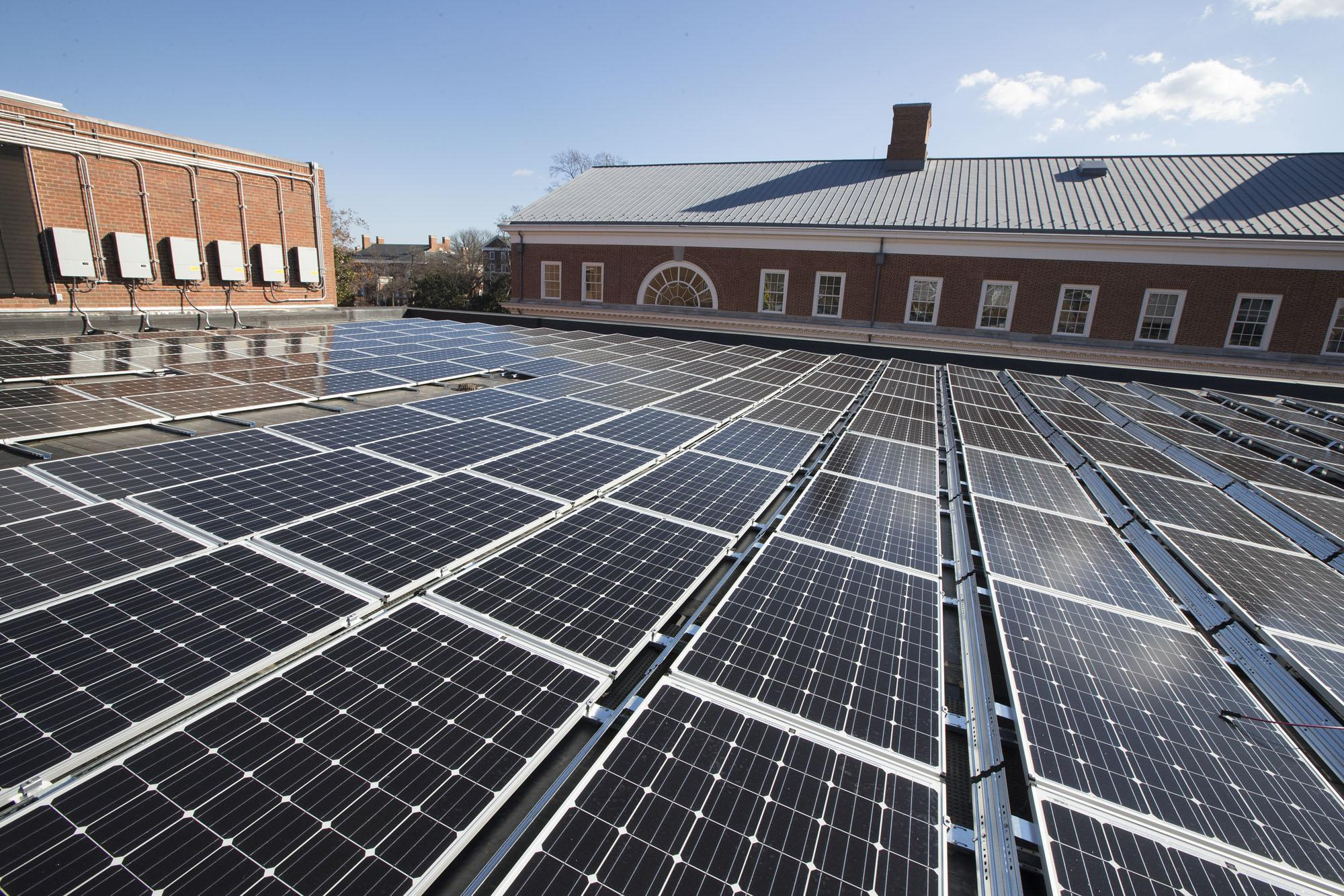 Nearly 1,600 solar panels on the roofs of Ruffner Hall and the UVA Bookstore will generate electricity for the power grid.