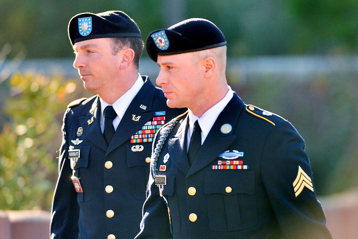 U.S. Army Lt. Col. Frank Rosenblatt with his client Sgt. Bowe Bergdahl, who is facing a possible life sentence.