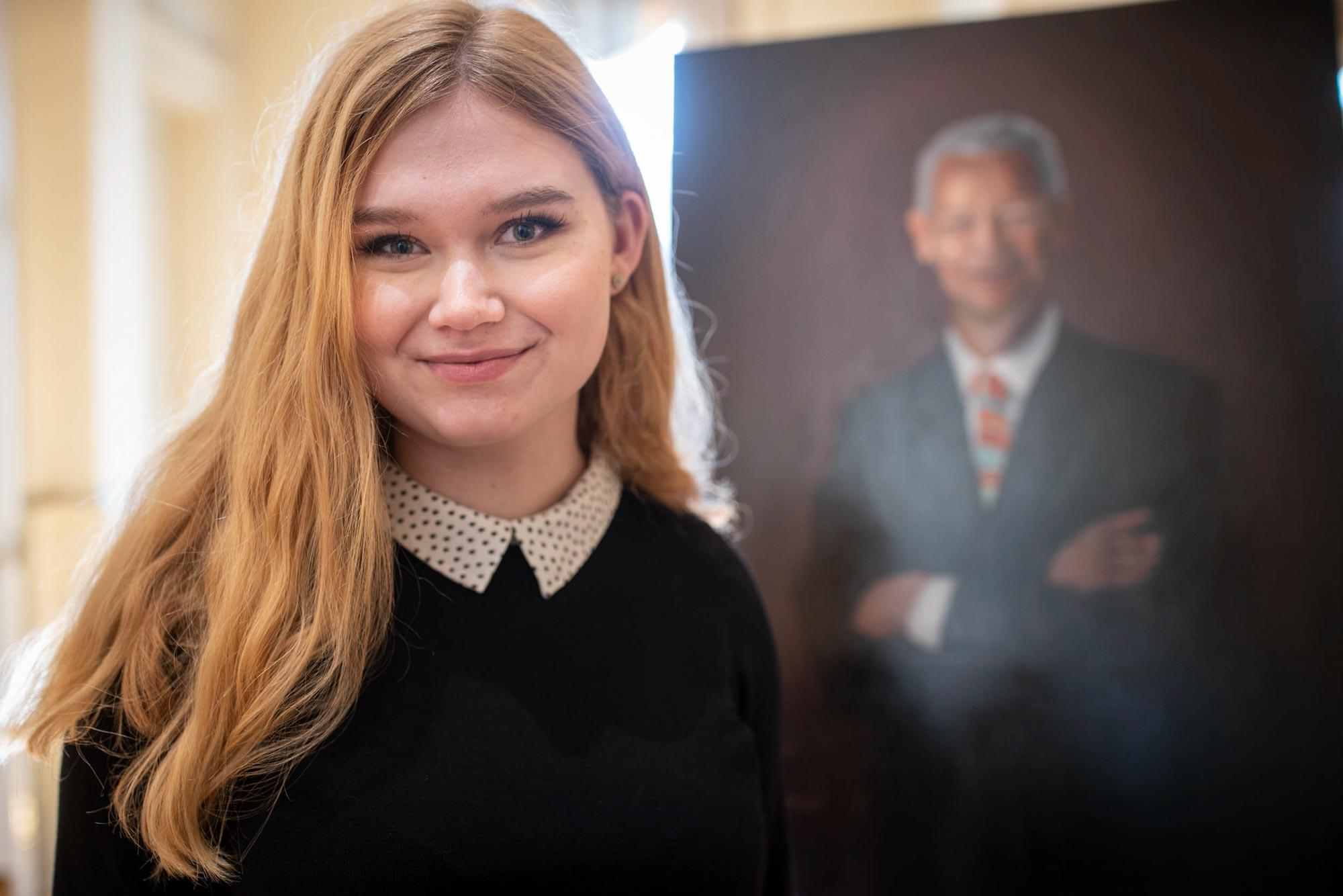 Always looking for what to paint next, second-year student Sophia Kedzierski – a resident of the new Bond House – decided she wanted to commemorate Julian Bond.