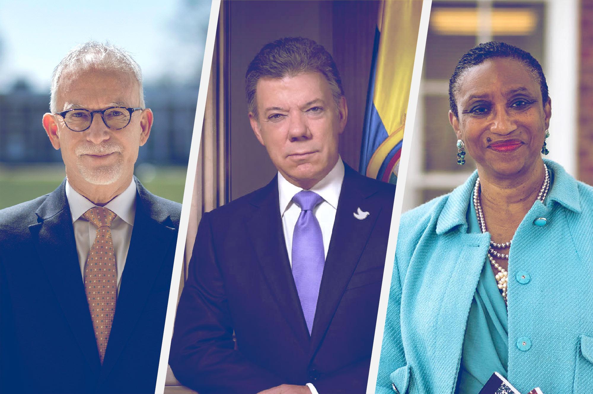 From left, Finals Weekend speakers Robert C. Pianta, Juan Manuel Santos and Deborah E. McDowell.