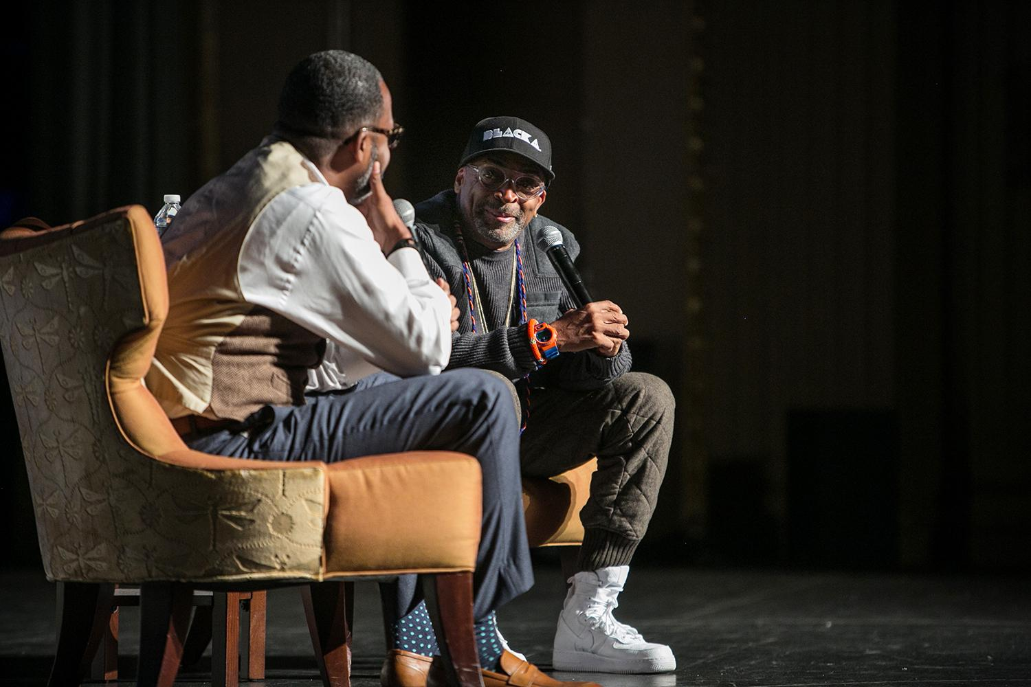 Spike Lee joined Maurice Wallace, an associate director at UVA's Carter G. Woodson Institute for African-American and African Studies, for a pre-screening discussion on Saturday.  (Photo by John Robinson)