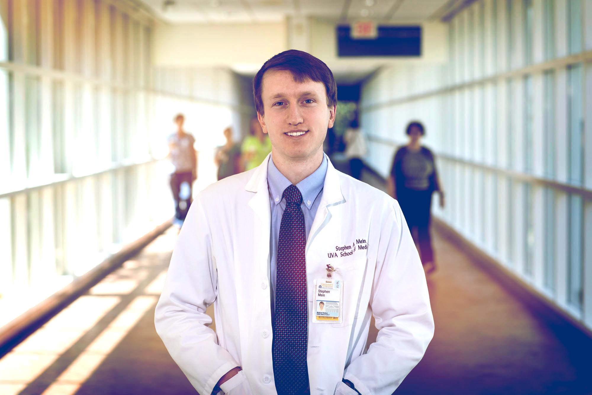 After graduation, medical student Stephen Mein will pursue a career in primary care, beginning with a residency in Boston.