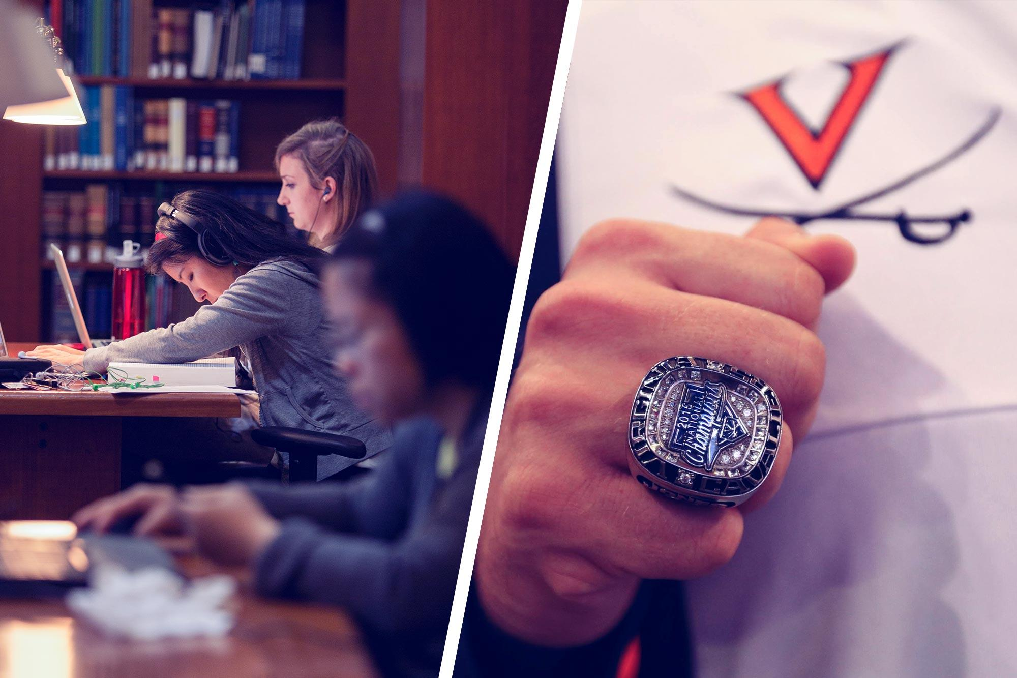 Women studying in a library, left, and a close up of a championship ring, right.