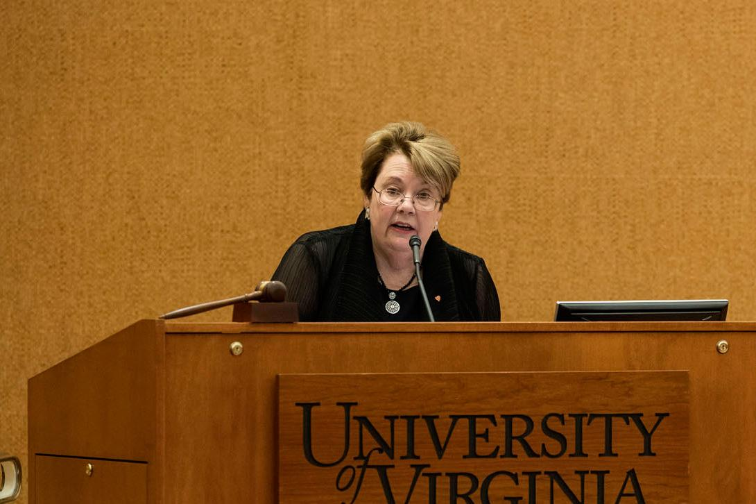 UVA President Teresa A. Sullivan delivered the State of the University Address on Monday afternoon, focusing on the ways in which the University community will honor the institution's traditions. (Photo by Dan Addison, University Communications)