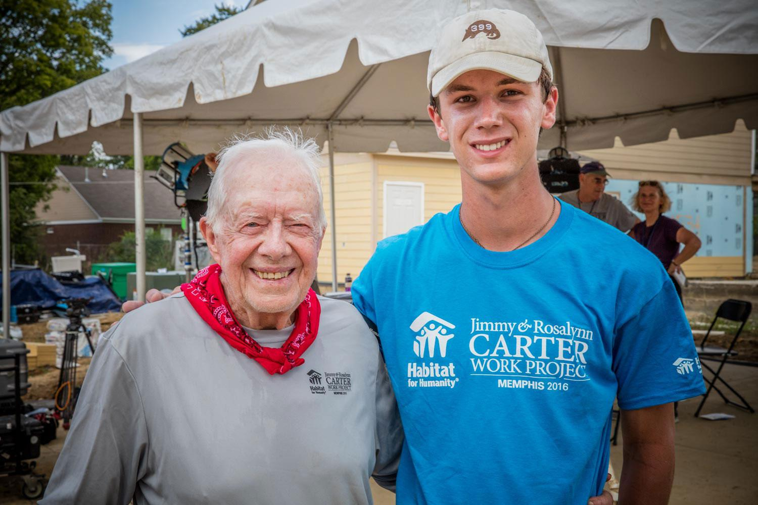 Third-year UVA student and longtime Habitat for Humanity volunteer Taylor Thompson with former President Jimmy Carter at the Carter Work Project, led by Carter and his wife Rosalynn. (Photo courtesy of Taylor Thompson)