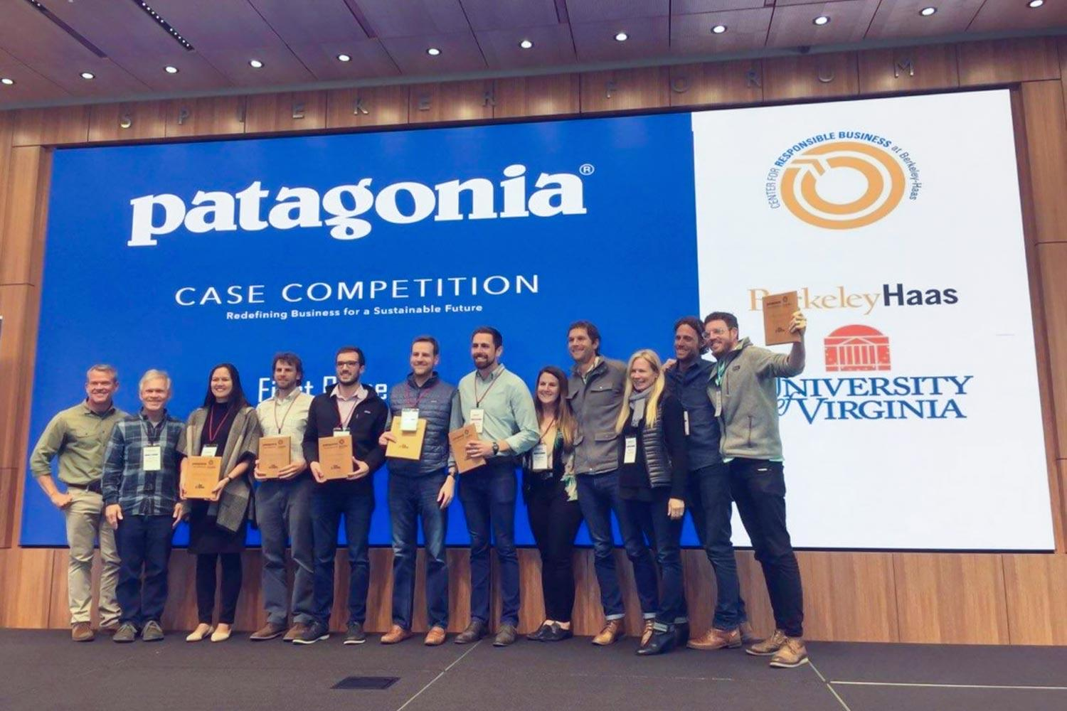 "The team, dubbed ""Team Hoos Green,"" were joined on stage after their win by the Patagonia executives who judged the competition."