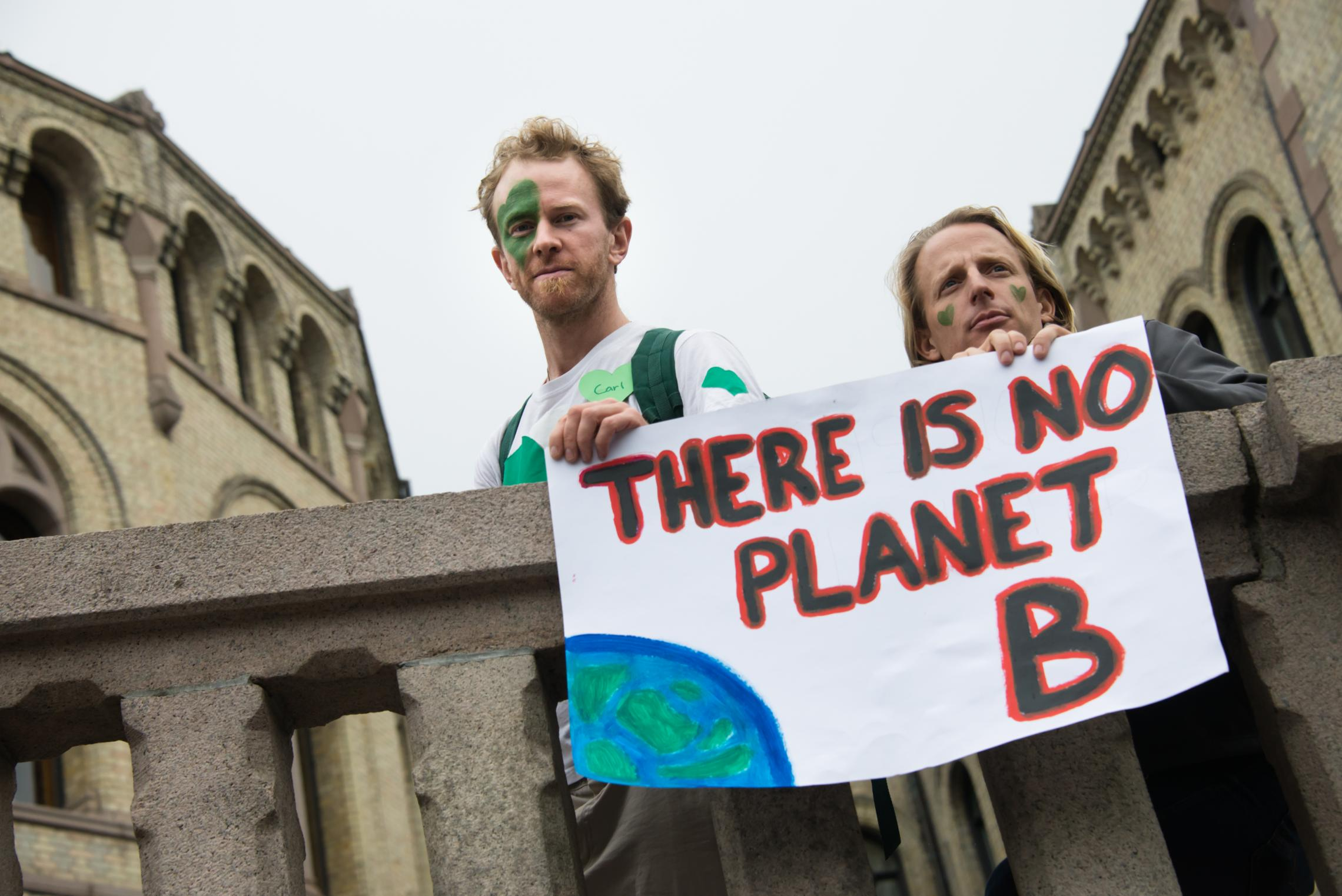 Protesters in Norway call for action on climate change. A new UVA study finds that liberals and conservatives disagree regarding common climate change mitigation strategies, but might agree on some adaptation strategies.