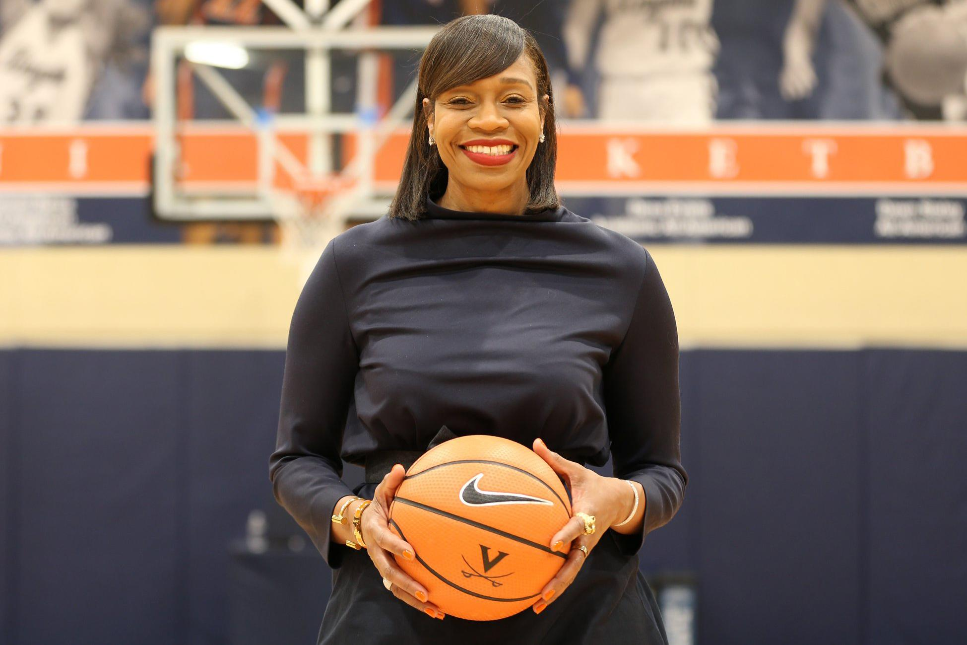 UVA's hiring of Tina Thompson earned acclaim from all across the world of women's basketball. (Photos by Matt Riley, UVA Athletics)