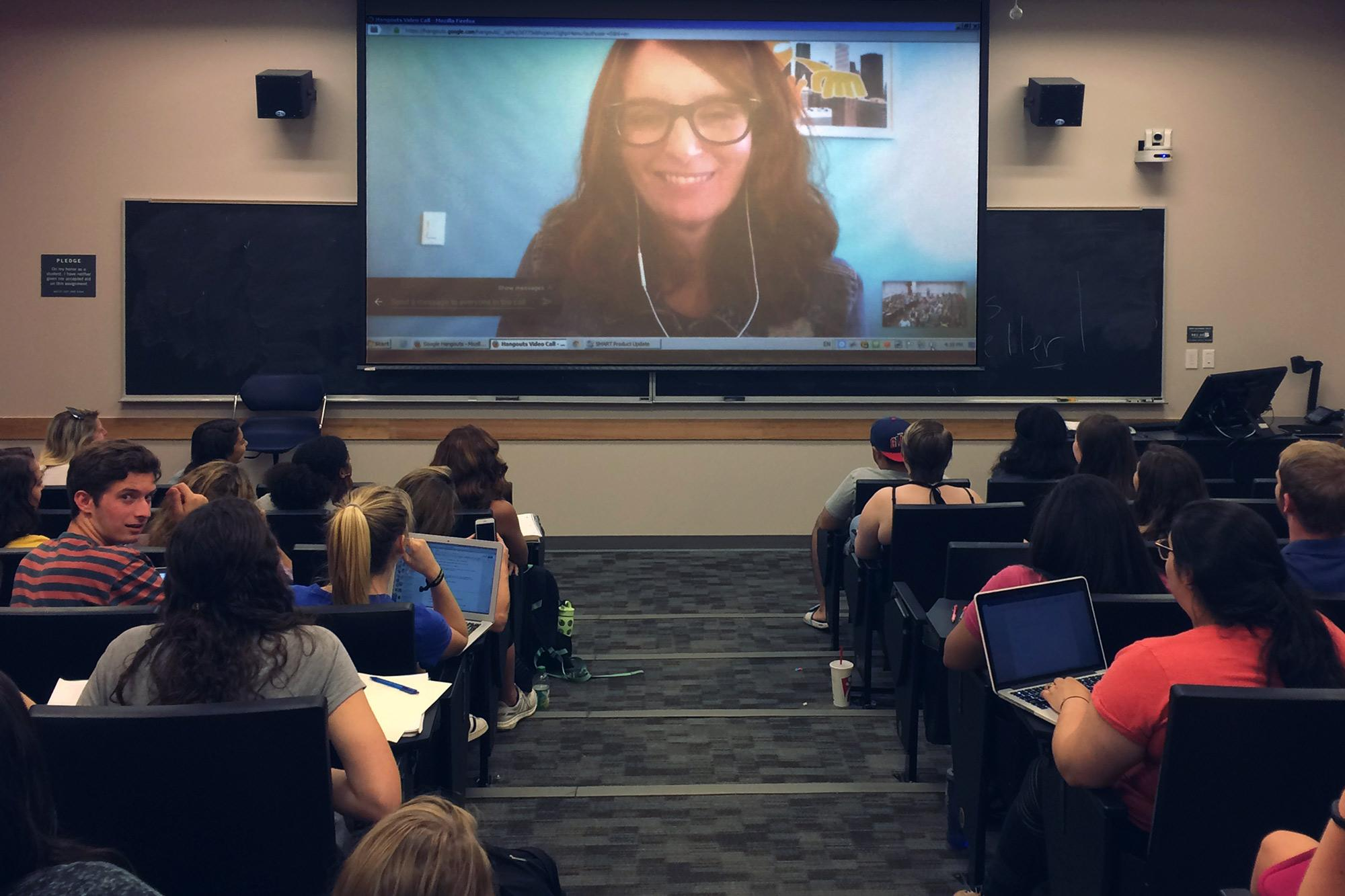 Students' last day of class included a surprise virtual visitor: Tina Fey.