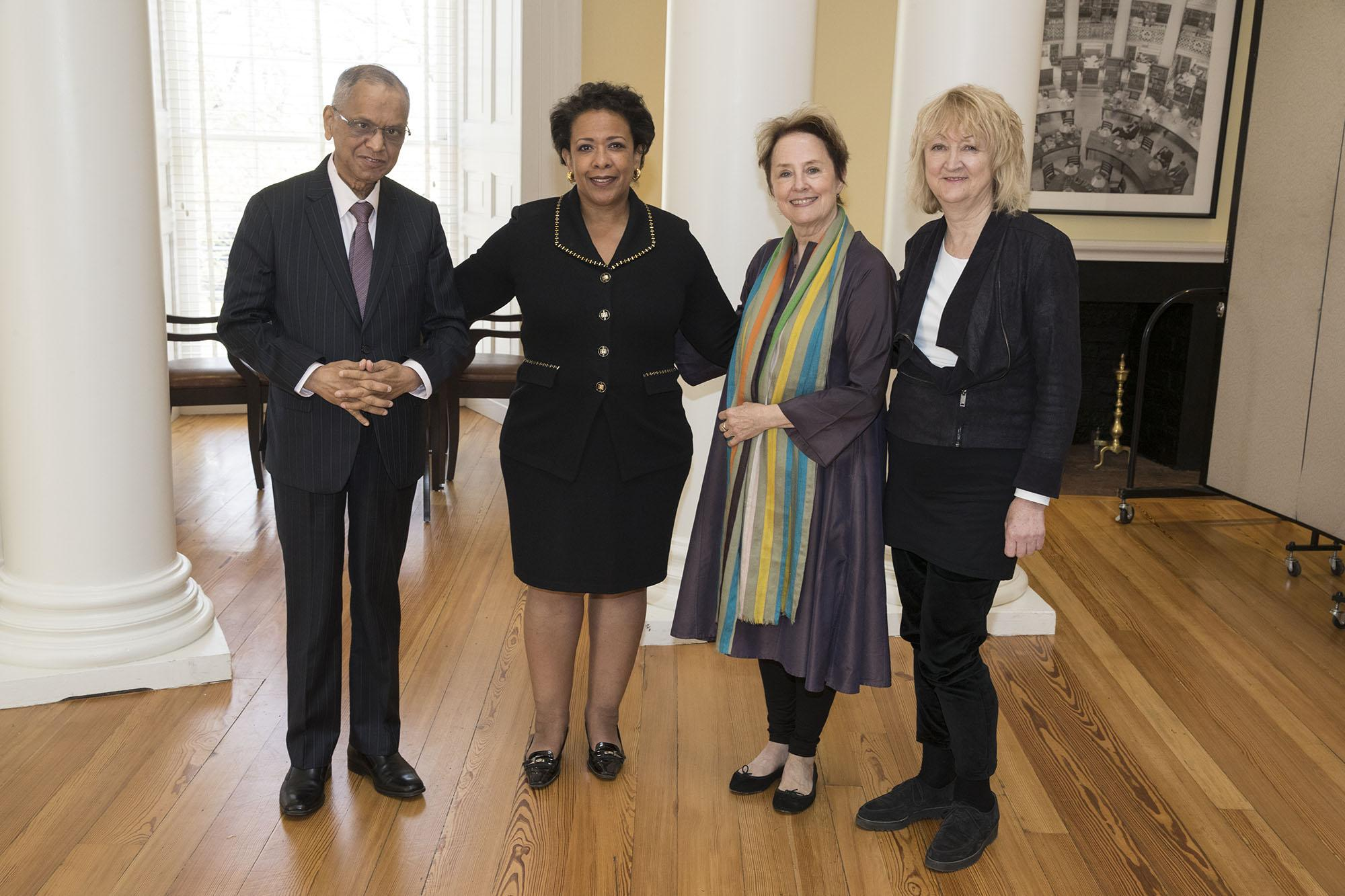 Left to right, Thomas Jefferson Foundation Medalists N.R. Narayana Murthy, Loretta Lynch, Alice Waters and Yvonne Farrell. Not pictured: Shelley McNamara. (Photo by Dan Addison, University Communications)