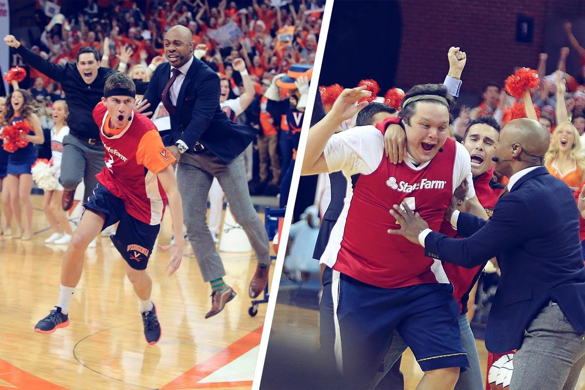 UVA alumni Tyler Lewis, left, and Andrew Board electrified John Paul Jones Arena (and co-host Jay Williams), making prize-winning half-court shots in consecutive years.