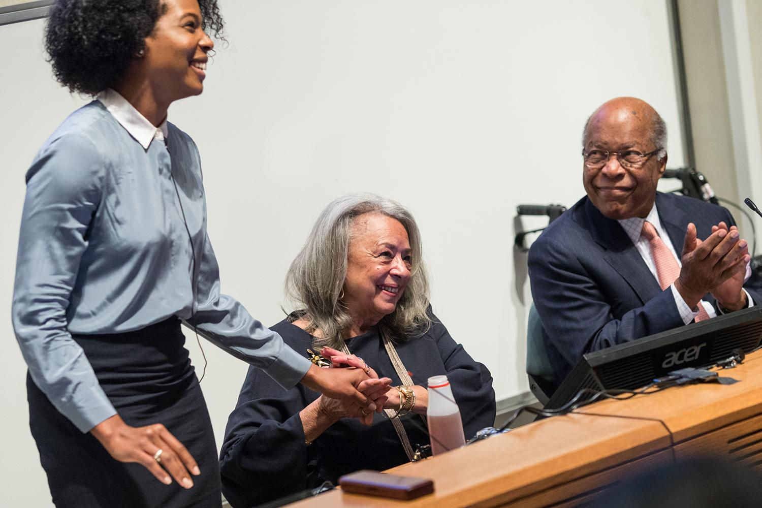 Dr. Vivian Pinn, center, a 1967 graduate of UVA's School of Medicine, was the only woman and only African-American in her class. (Photos by Coe Sweet)