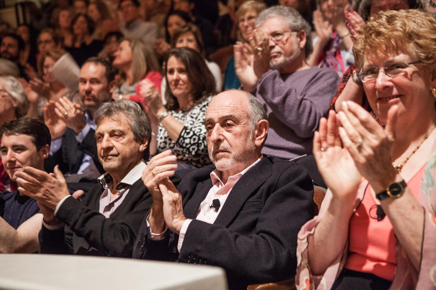 Alain Boublil, center left, and Claude-Michel Schönberg, center right, applaud a performance of their music. (Photos by Çoe Sweet)