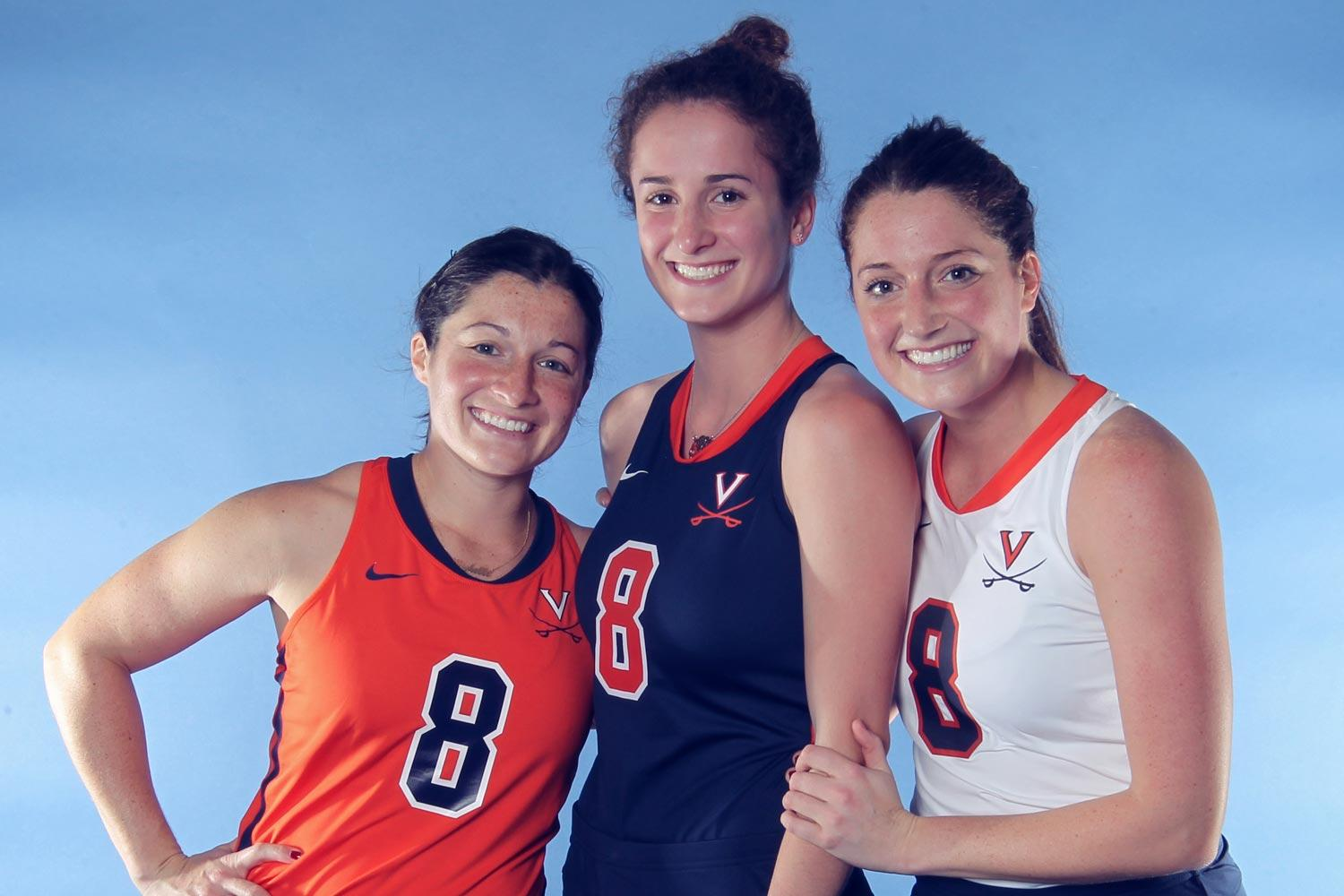 Former Cavalier field hockey stars (from left) Michelle, Tara and Carissa Vitesse have all played for the U.S. national team, but only Michelle and Tara are on the roster for the 2018 World Cup, which begins Saturday.