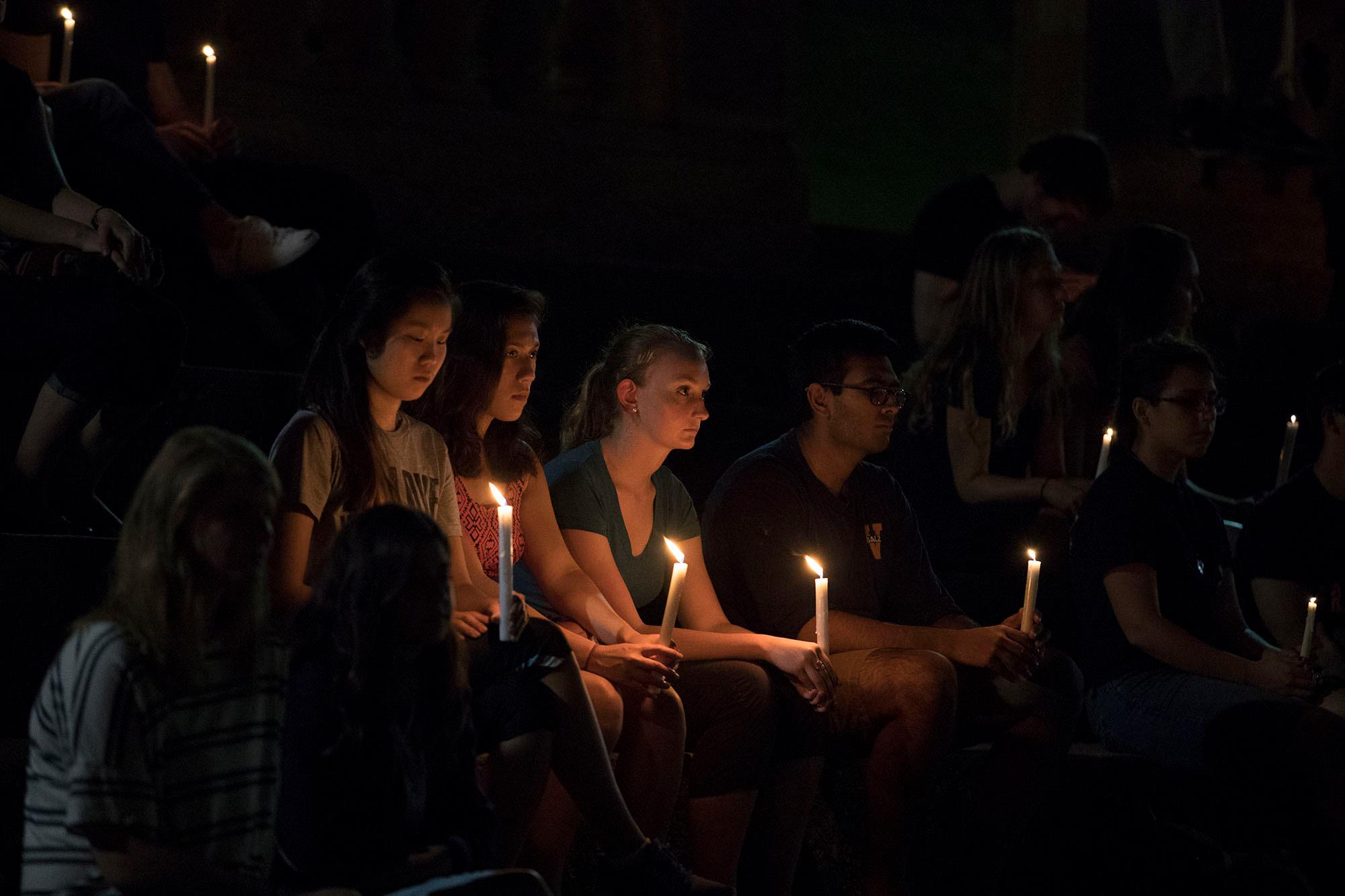 Students and other members of the UVA community gathered on Grounds on Tuesday night for a vigil in remembrance of Otto Warmbier. (Photos by Dan Addison, University Communications)