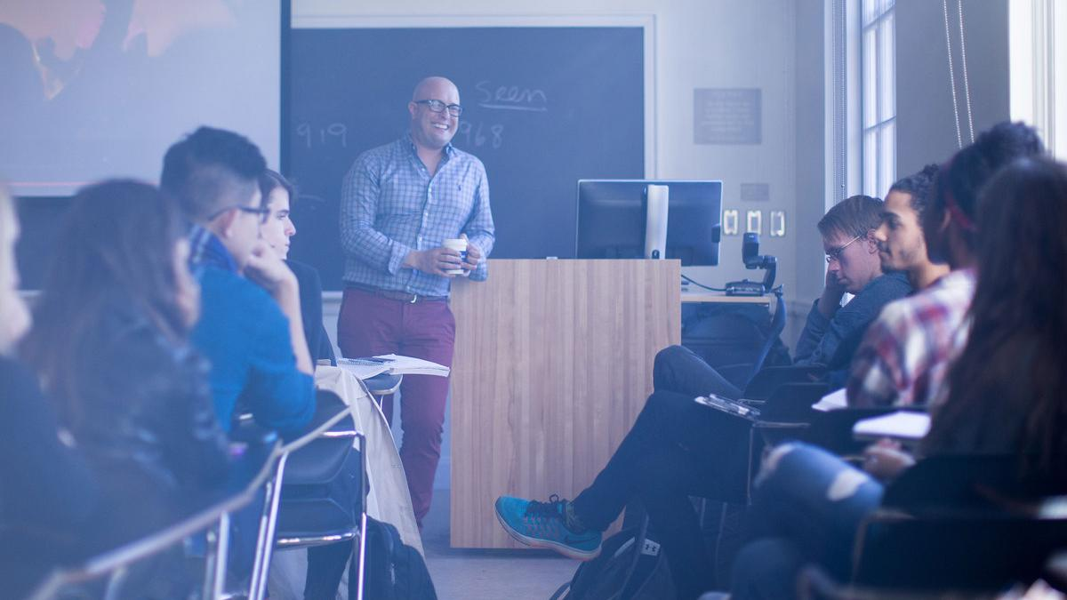 "Media studies professor Andre Cavalcante's ""Introduction to Media Studies"" course was one favorite. (Photo by Sanjay Suchak, University Communications)"