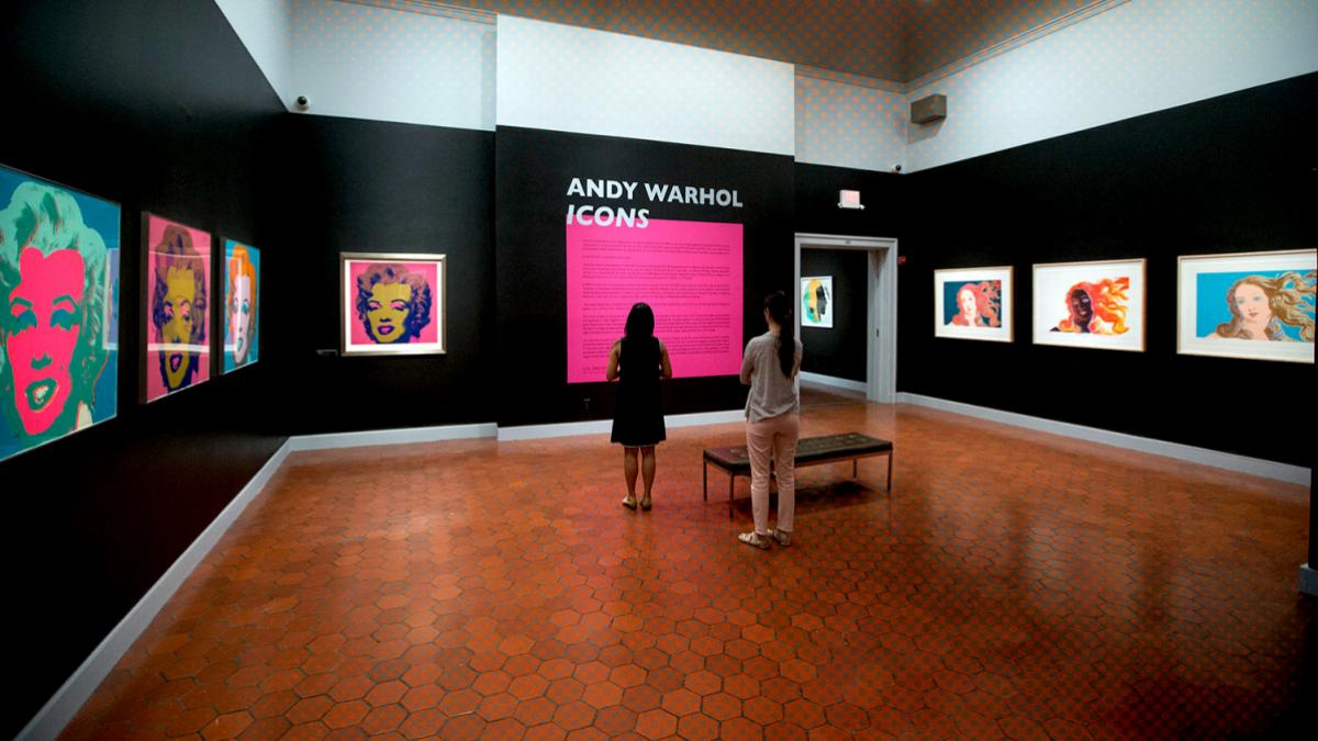 "The new exhibition includes Warhol's portrait series of Marilyn Monroe, seen here at left, and a series of screen prints based on Sandro Botticelli's ""Birth of Venus"" painting, at right."