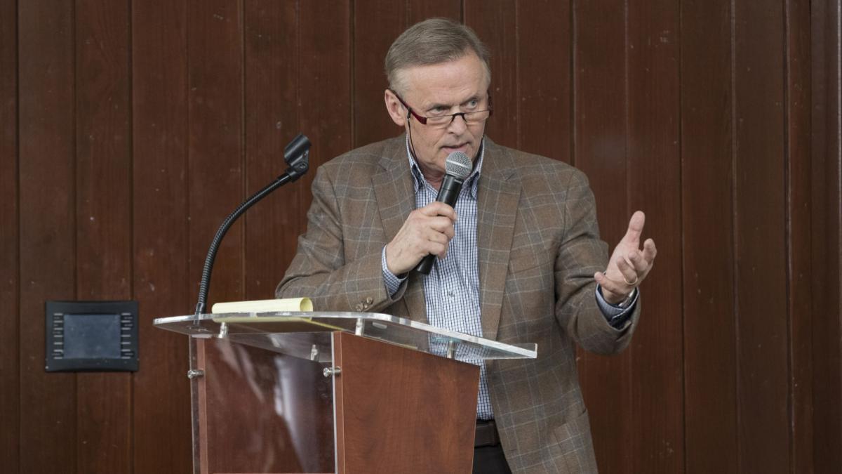 John Grisham moderated Thursday's discussion that featured UVA law professor Brandon Garrett and fellow authors Radley Balko, Tucker Carrington and Bill Sizemore. (Photo by Dan Addison, University Communications)