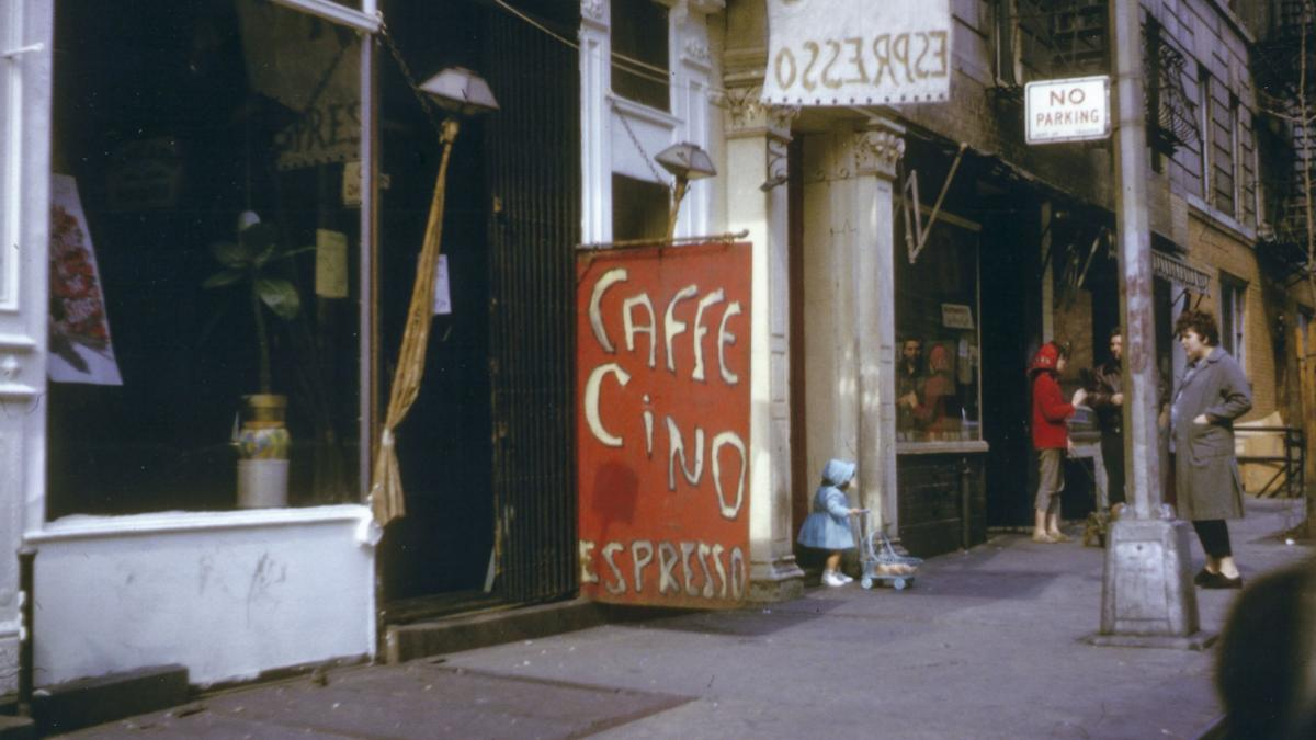Davis is working to protect sites like Caffe Cino, the birthplace of off-off-Broadway experimental theater, shown here in 1962.