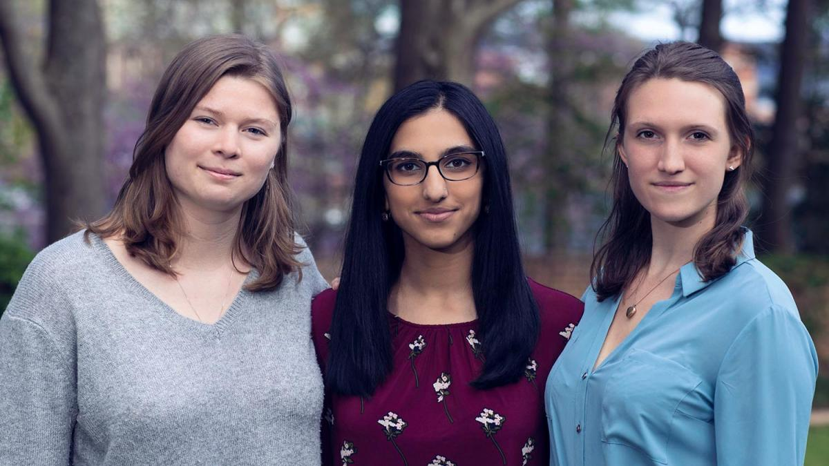 "From. Left, Cameron Bertron, Molly Magoffin and Simranjit ""Simmy"" Bhatia want to use a Davis Projects for Peace grant to break cycles of sexual exploitation."