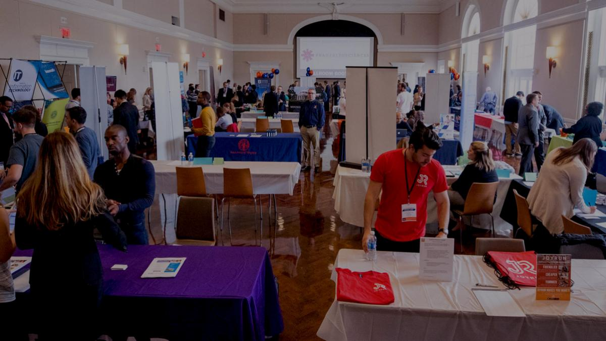 The Fall Job and Internship Fair brought more than 100 employers to Grounds this week. (Photos by Sanjay Suchak, University Communications)