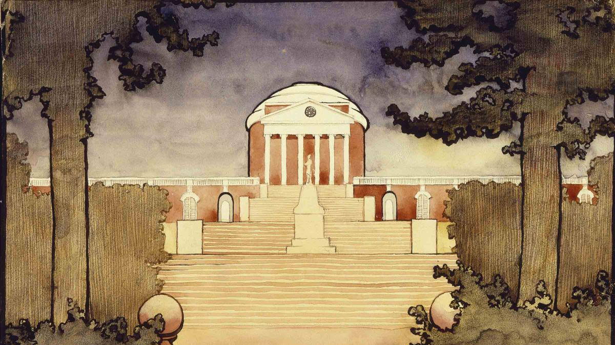 Georgia O'Keeffe (American 1887-1986). Untitled (Rotunda -University of Virginia), Scrapbook of UVA, 1912-1914. Watercolor on paper. Georgia O'Keeffe Museum. Gift of The Georgia O'Keeffe Foundation (2006.05.608). © 2018 Georgia O'Keeffe Museum.