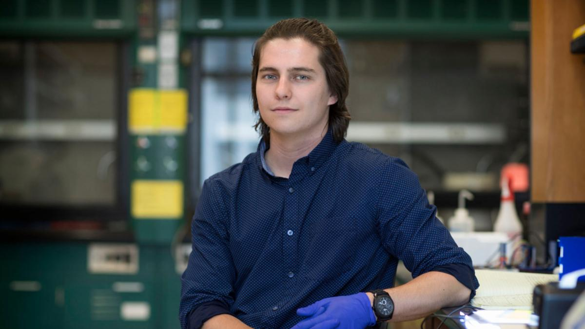 David Dent, who graduates in May with a chemistry degree, plans to pursue a career in pharmacy.