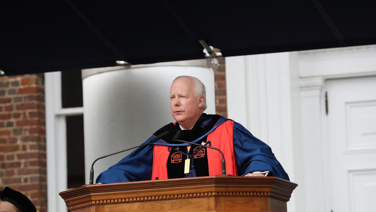 "UVA Rector Rusty Conner: ""We are at a point in this nation's history where we need to cast off the ways of the present. We can no longer afford to continue as we are if we are to achieve this nation's promise."" (Photo by Dan Addison, UVA)"
