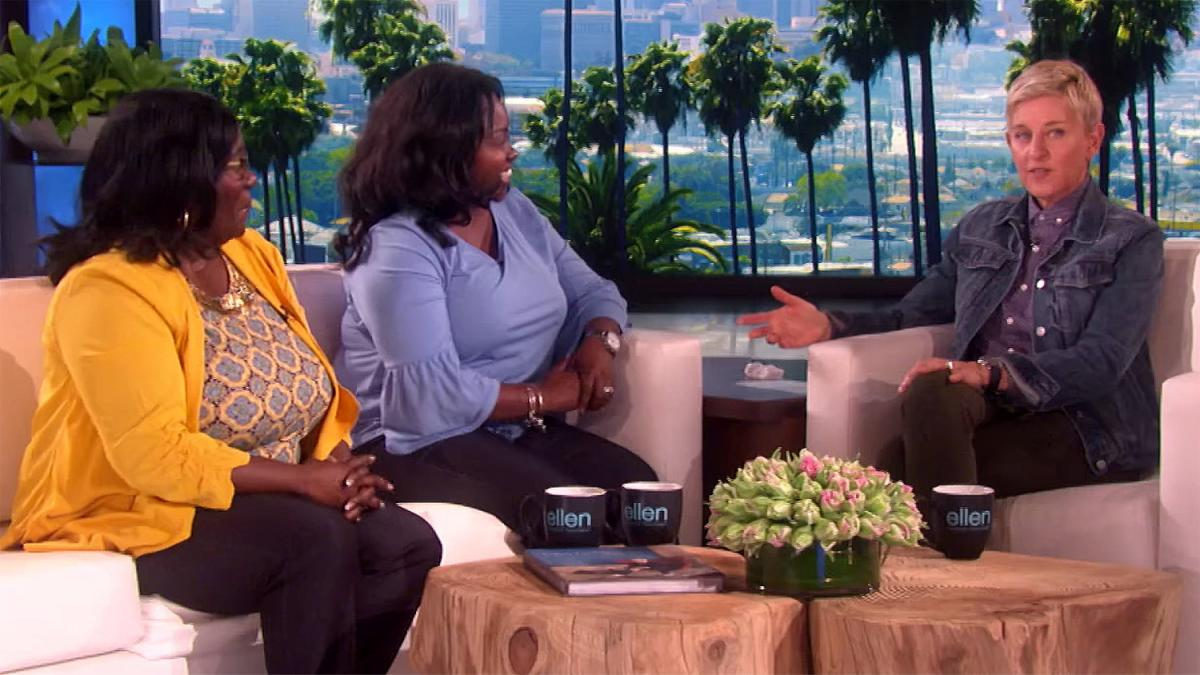 Cheryl Lundy Swift '93, center, appeared on the Ellen Show on Thursday.