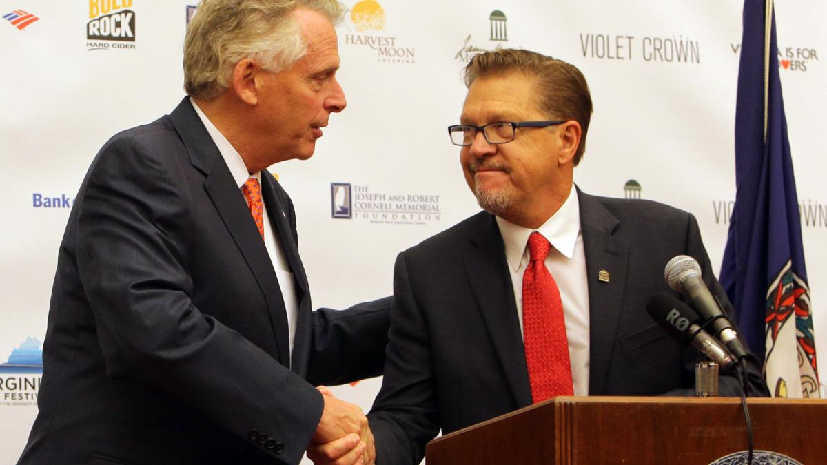 Jody Kielbasa, UVA's vice provost for the arts and director of the Virginia Film Festival, joined Governor Terry McAuliffe for Thursday's announcement of the festival's opening film.