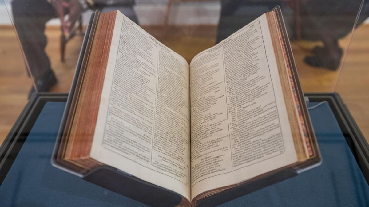 The First Folio – one of four copies of the nearly 400-year-old edition circulating around the U.S. – departs UVA for parts unknown Thursday. (Photo by Sanjay Suchak, University Communications)