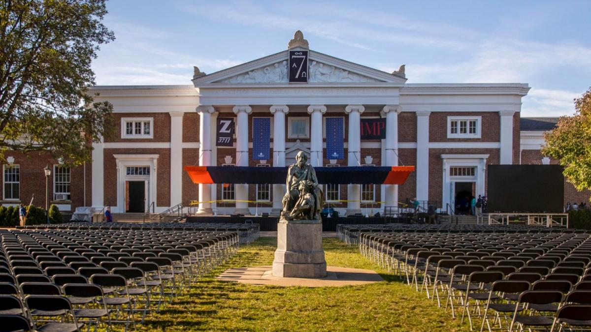 The stage is set for UVA President Jim Ryan's inauguration Friday on the Lawn.