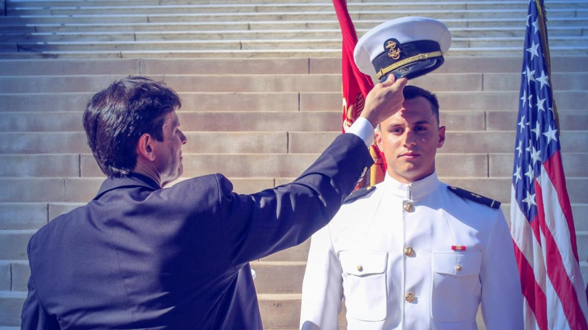 Jeff Jernigan during an ROTC ceremony at UVA