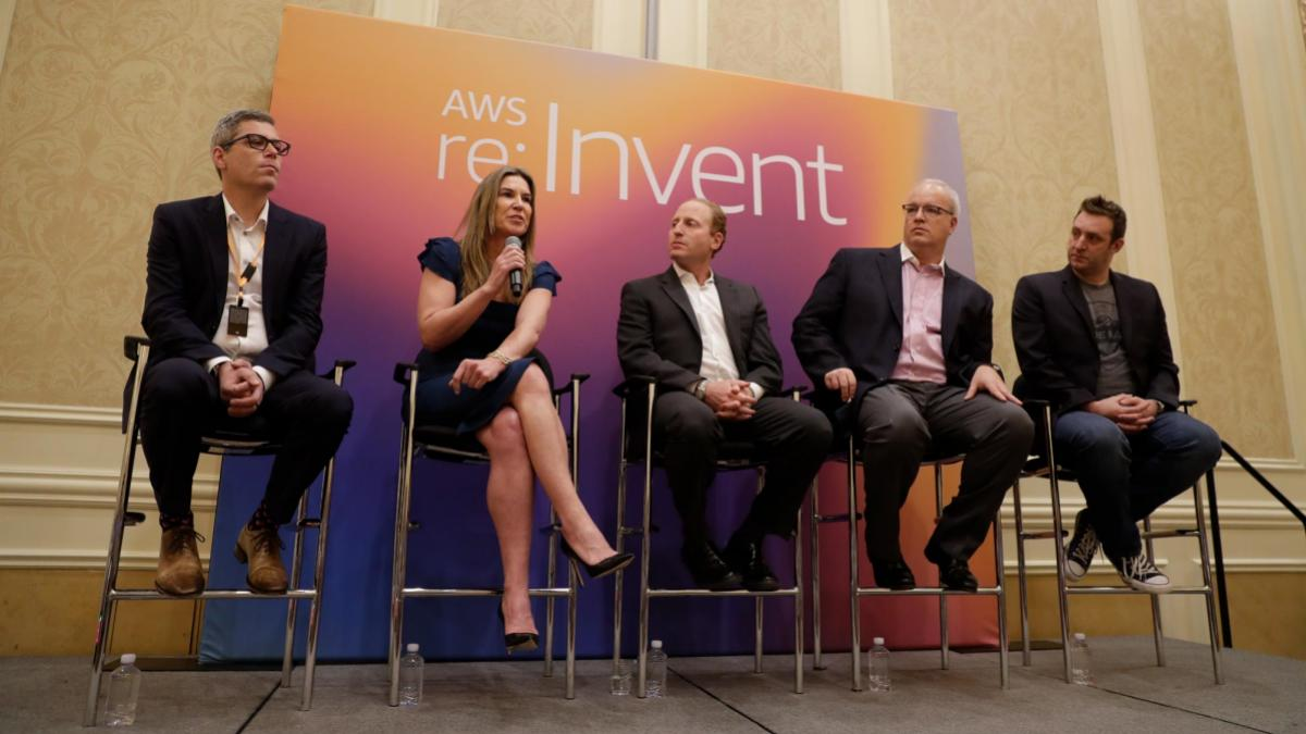 Alumna Jennifer Langton speaks on a panel announcing the NFL/Amazon Web Services partnership during a conference in December.
