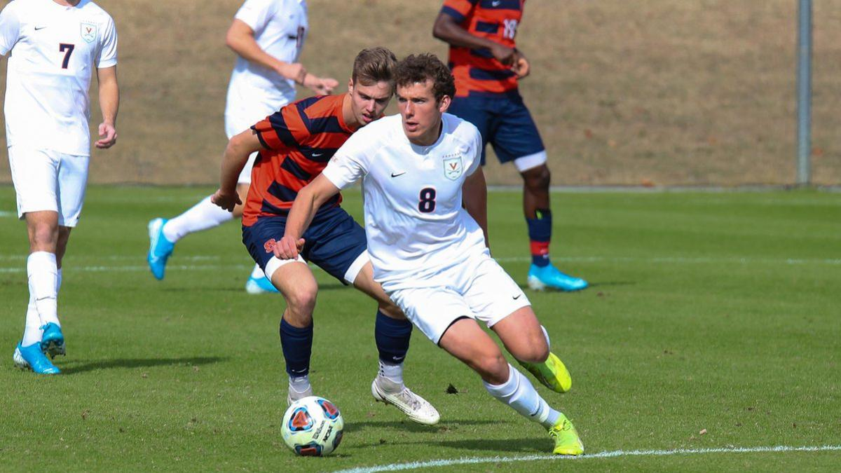 Junior Joe Bell (#8), who just returned from international competition in Ireland, leads UVA into its second-round NCAA Tournament game on Sunday at Klöckner Stadium.