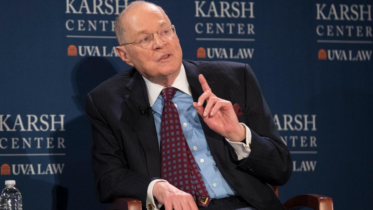 Retired Supreme Court Justice Anthony Kennedy spoke Friday at the University of Virginia School of Law during an event sponsored by the Karsh Center for Law and Democracy. (Photo by Dan Addison, University Communications)