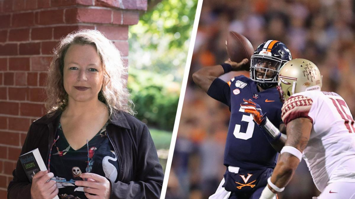 "Lisa Speidel (left) was at a rock concert when Cavaliers football player Bryce Perkins (right) gave her a ""shout-out"" during Saturday's win over Florida State."