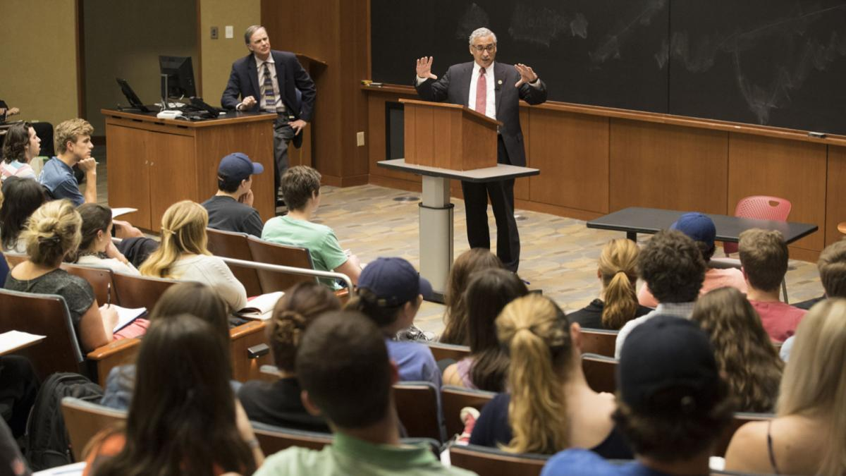 Congressman Bobby Scott addressed students in Gerald Warburg's public policy class on Monday afternoon. (Dan Addison, University Communications)