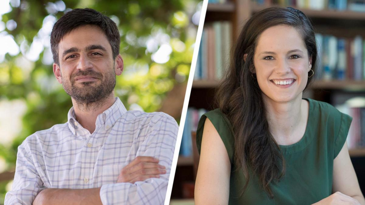 Anthropologist Roberto Armengol and Courtney Hill, a doctoral candidate in the School of Engineering, have been awarded Ford Foundation Fellowships. (Photos by Dan Addison, University Communications)