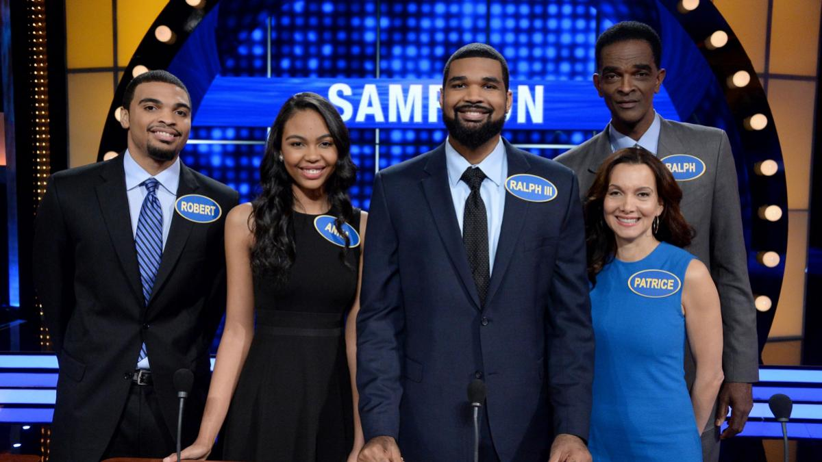 Pictured on Celebrity Family Feud, left to right, are Robert Alan Sampson, Anna Aleize Sampson, Ralph Lee Sampson III, Patrice Ablack and Ralph Sampson. (Photo by Eric McCandless, ABC)