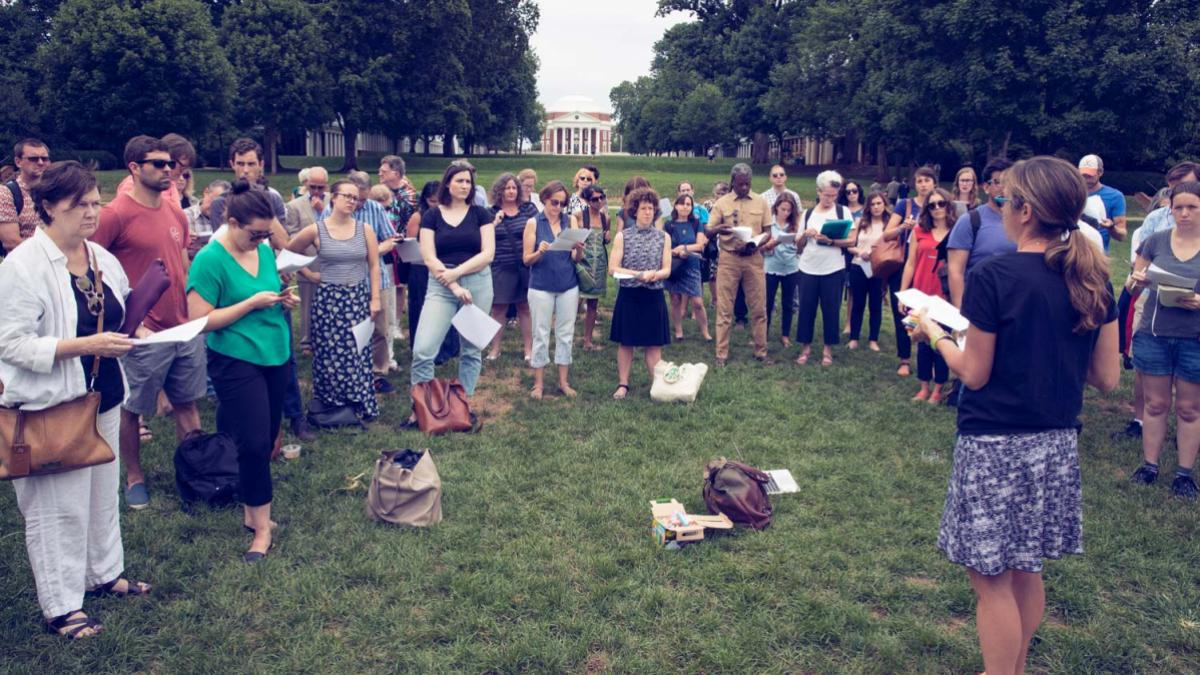 Faculty gather on the Lawn