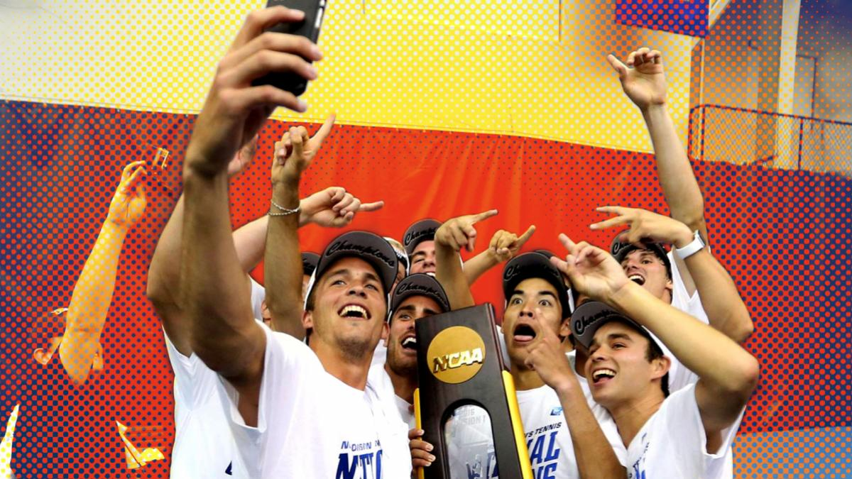Members of the tennis team celebrate third second straight NCAA championship Tuesday night in Tulsa, Oklahoma.